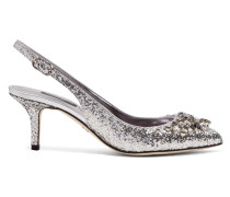 Kristallverzierte Slingback-pumps aus Leder mit Glitter-finish -