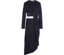 Elvia Kleid aus einer Wollmischung mit Nadelstreifen und Cut-out