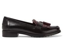 Zweifarbige Loafers Aus Leder - Schwarz