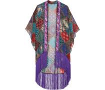 Bird Of Paradise Bedruckter Kimono Aus Seidenchiffon Mit Fransen - Lila