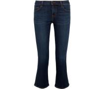 Selena Halbhohe Verkürzte Bootcut-jeans - Mittelblauer Denim