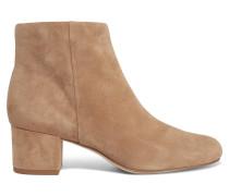 Edith Ankle Boots Aus Veloursleder - Sand
