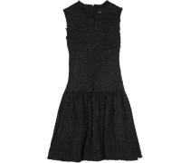 Minikleid Aus Bouclé-tweed Mit Fransendetails - Schwarz
