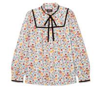 Abott Bluse aus Floral Bedrucktem Baumwoll-twill mit Samtbesatz -