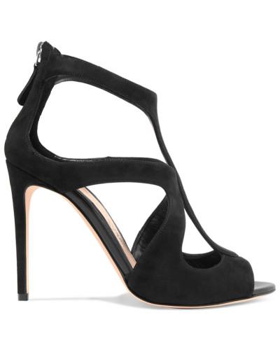Alexander McQueen Damen Sandalen aus Veloursleder mit Cut-outs
