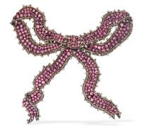 Brosche mit Kristallen, Perlen und Chiffon -