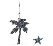 Palm Tree Silberfarbene Ohrringe Mit Kristallen - Blau