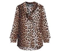 Bluse Aus Crêpe De Chine Mit Leopardenprint Und Rüschen - Leoparden-Print