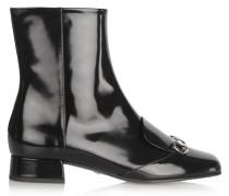Ankle Boots Aus Lackleder Mit Horsebit-detail - Schwarz