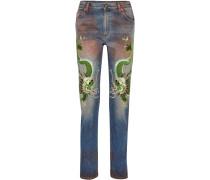 Boyfriends-jeans In Distressed-optik Mit Applikationen -