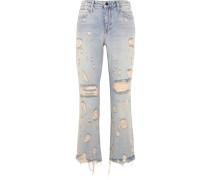 Grind Verkürzte, Hoch Sitzende Bootcut-jeans In Distressed-optik - Heller Denim