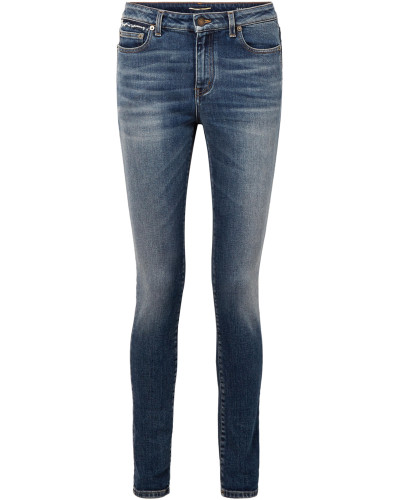 Halbhohe Skinny Jeans in Distressed-optik -