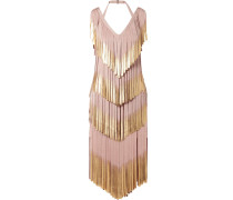 Kleid aus Metallic-bandage mit Fransen -