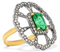 Ring Aus 18 Karat  Und Sterlingsilber Mit Diamanten Und Smaragd