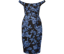Schulterfreies Kleid aus Satin mit floralem Print