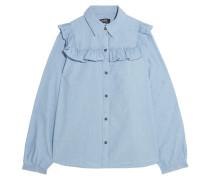 Memphis Rüschenhemd Aus Baumwoll-chambray - Hellblau