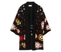 Kimonojacke aus Crêpe de Chine aus Seide mit Blumenprint