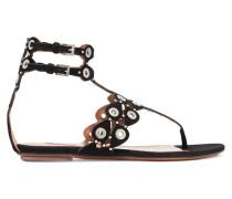 Verzierte Sandalen Aus Veloursleder -