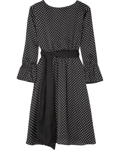 Kleid aus Satin mit Polka-dots -