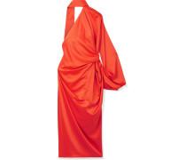 Sorina Asymmetrisches Kleid Aus Glänzendem Crêpe Mit Drapierung -
