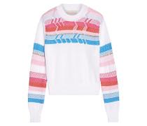 Pullover Aus Baumwolle Mit Gehäkelten Einsätzen - Weiß