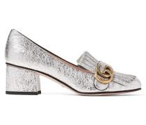 Marmont Loafers Aus Craquelé-leder Mit Metallic-effekt Und Fransen - Silber