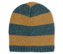 Gestreifte Beanie Aus Strick In Metallic-optik - Gold