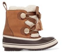 + Sorel Crosta Stiefel aus Veloursleder und Shearling mit Lederbesätzen -