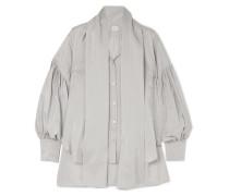 Hemd aus einer Seiden-baumwollmischung mit Schluppe und Nadelstreifen -