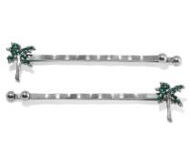 Set Aus Zwei Silberfarbenen Haarspangen Mit Kristallverzierung