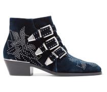 Susanna Nietenverzierte Ankle Boots Aus Samt - Navy