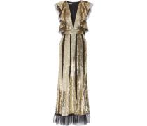 Paillettenbesetzte Robe Aus Tüll Mit Rüschen - Gold