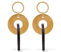Ohrringe Aus Goldfarbenem Metall Und Leder