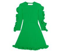 Minikleid Aus Rippstrick Mit Rüschenbesatz - Grün