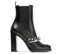 Ankle Boots Aus Leder Mit Kettenbesatz -