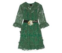 Camilla Minikleid Aus Gehäkelter Spitze Mit Samtbesatz - Jade