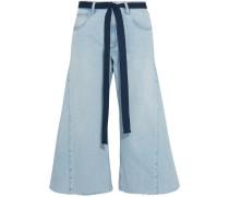 Verkürzte Jeans Mit Weitem Bein Und Gürtel -