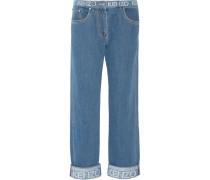 Bedruckte Boyfriend-jeans - Mittelblauer Denim