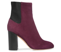 Agnes Ankle Boots Aus Veloursleder - Burgunder