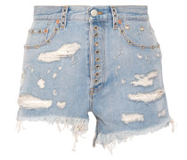 Verzierte Jeansshorts In Distressed-optik -