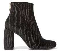 Ankle Boots Aus Samt Mit Flockdruck - Schwarz