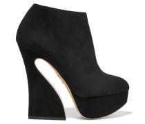 Millie Ankle Boots Aus Veloursleder Mit Plateau - Schwarz