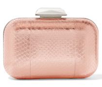 Cloud Verzierte Clutch Aus Elapheleder In Metallic-optik - Pink