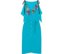 Kleid aus Crêpe de Chine aus Seide mit Verzierungen und Stickereien