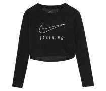 Verkürztes Sweatshirt Aus Bedrucktem Dri-fit-jersey Aus Einer Baumwollmischung Mit Mesh - Schwarz