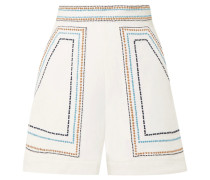Shorts Aus Baumwoll-twill Mit Stickerei -