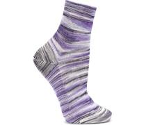 Gestreifte Socken Aus Strick In Häkeloptik -