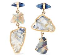 Ohrringe aus 14 Karat  mit Saphiren und Opalen