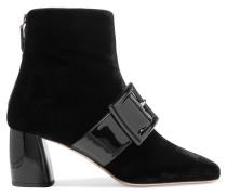 Ankle Boots Aus Lackleder Und Samt Mit Schnalle - Schwarz