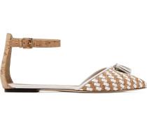 Macklin flache Schuhe aus Leder mit spitzer Kappe und Fransendetail aus Kork